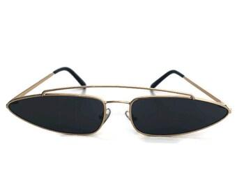Black Sunglasses | Half Cat Eye | Retro Sunglasses | Minimal Sunglasses Minimalist|Club Kid | 1990s 90s Style | 1980s 80s |Rare Festival Mod