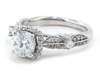 Unique Moissanite Engagement Ring Diamond Halo