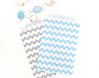 """12 Medium Paper Party Bags, Grey & Aqua Chevron Treat Bags, Chevron Paper Favor Bags . 5"""" x 7.5"""""""