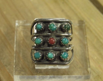 Vintage Sterling Silver Turquoise and Coral Ring Size 4.5
