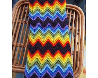 Rainbow Chevron Crochet Afghan / Blanket / Throw