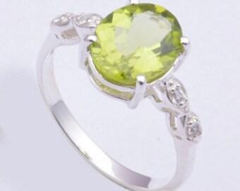 Peridot ring,925 silver ring,Handmade ring,925 sterling silver ring,silver ring
