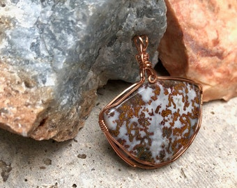 Paisley Agate Wire Wrapped Pendant / JaspAgate Pendant / Natural Stone and Copper Pendant