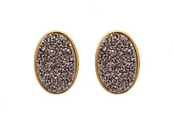 Druzy Stud Earrings - Druzy Studs - Silver Druzy - Gold Studs - Large Oval Studs - Gold Stud Earrings