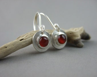 Carnelian Drop Earrings - Orange Dangle Earrings - Red Gemstone Earrings -  Sterling Silver Earrings