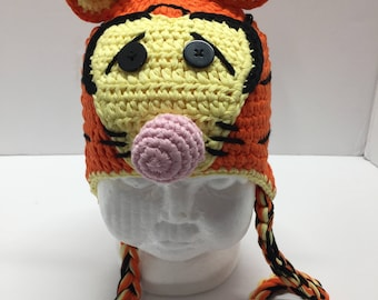 Tigger crochet hat, tigger hat, tiger hat