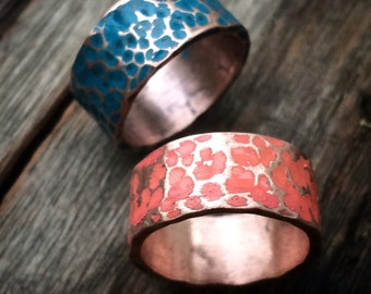 Copper Wedding Band - Rustic Hammered Patina Ring in Coral Pink or Lagoon Blue - Custom Sized Unisex Boho Jewelry Gifts