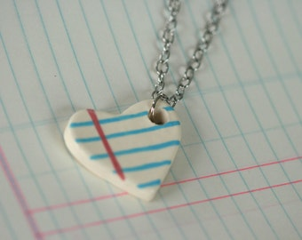 Small Heart Notebook chained necklace