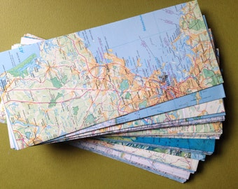 "Map Envelopes--World Atlas Envelopes--Size 9 1/2"" x 4""--Upcycled Map Envelopes"