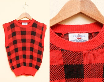 Plaid Sweater Vest // Red Checkered Top // 80s Acrylic Sleeveless Black and Red Punk Hipster Emo Size Small