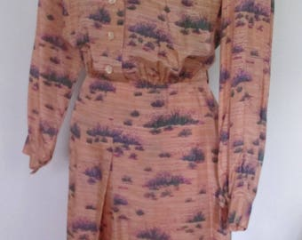 DRESS Genuine VINTAGE 100% Pure SILK Shirt Long sleeve Secretary Day Tea Retro