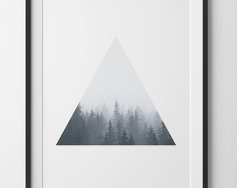 Geometric Triangle Forest Print, Minimalist Forest Photography in Black and White, Forest Wall Art, Forest Print Home Decor, Digital Print