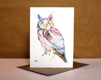 Watercolor card etsy quick view watercolour owl card m4hsunfo