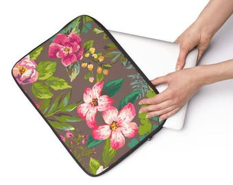 Tropic Floral Laptop Sleeve - Personalized Laptop Sleeve for Macbook Air, Macbook Pro, other Laptops