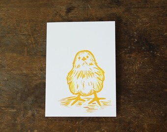 Single hand printed Spring Chick card, linocut, yellow