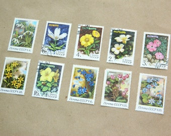 Vintage Postal Stamps-Set of 10-Soviet-Flowers stamp-Floral Botanical-Decoupage-Soviet Union-stamps collecting-russian-postage-scrapbooking