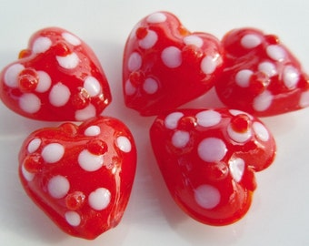 15mm, 10 Count Package, Lampwork, Red Heart Glass Beads, S19