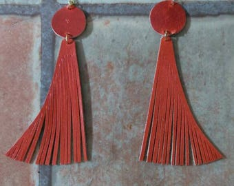 Leather Earrings with handmade fringe