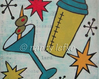 retro cocktail time - 6 x 6 Original Painting on Canvas by Nancy Lefko