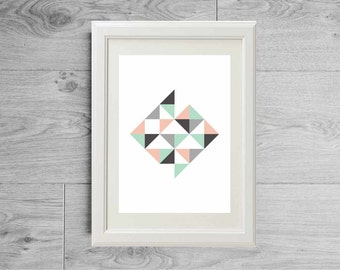 Modern triangles poster - Grey mint pink art print - Minimalist abstract - Geometric room decor- printed on matte paper