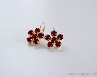 18th Century Reproduction Ruby Flower Earrings. Siam Red Rhinestones, Paste Glass, Gold. Rococo, Colonial, Regency, 19th Century, Historical