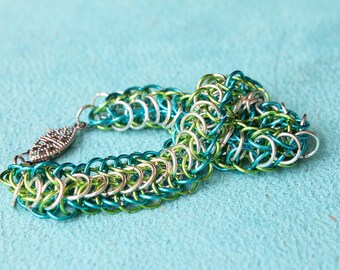 Neon Sea chain maille bracelet
