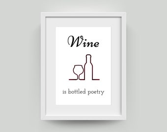 Wine is Bottled Poetry Instantly Downloadable Art Print | Robert Louis Stevenson | Print at Home | A4 A2 Poster | Word Art | Quote Art