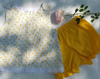 Girls top and bloomer, girls summer outfit, yellow floral top