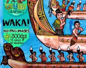 Waka Canoe & Hoe Paddle Clip Art, Instant Digital Download