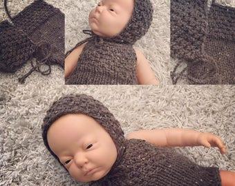Newborn knit bonnet and romper set, photo prop,gift idea,coming home, knit,crochet,bonnet,romper,tweed look,rts