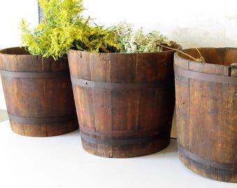 Vintage wooden bucket, rustic wooden bucket, vintage farm bucket, wood pail, flower planter