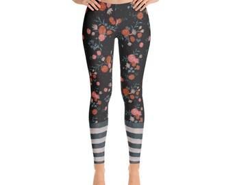 Charcoal floral women's Leggings stripes flowers roses trendy