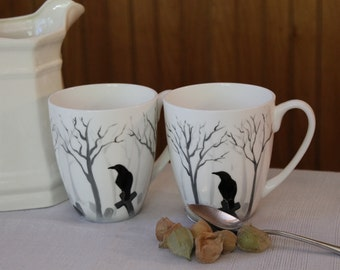 China Cups - Crow Mugs, Raven Mugs, Crow Cups, Raven Cups, Crows in the Mist Design - Hand Painted Set of 2, Crows and Ravens