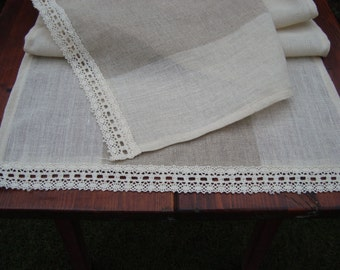 Natural Linen Table Runner Country Home Decor Table Runner in Sizes 17.5''x64''