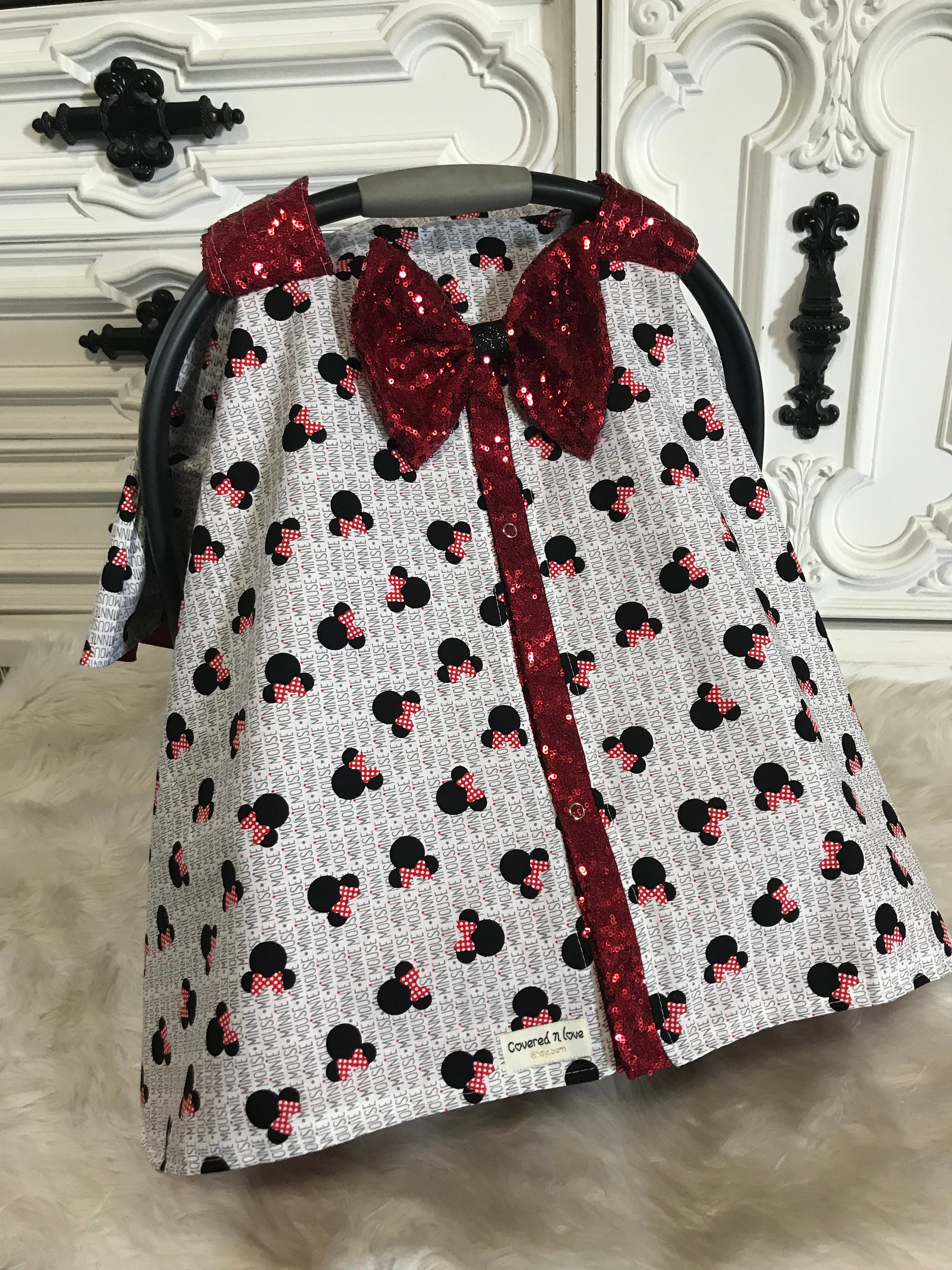 Minnie Mouse car seat canopy , sparkle slit and bow , Minnie Mouse ...