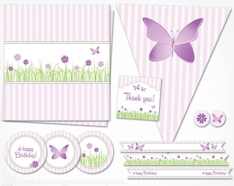 Purple Birthday Party Decorations - INSTANT DOWNLOAD Butterfly Printables for Garden Flower Party Package Decor