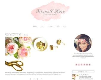 Feminine Blogger Template   Pink Blogger Template   Responsive Blogger Template   Watercolor   Kendall Rose