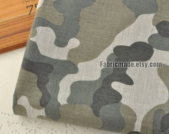 Camouflage Cotton Fabric, Army Green Grey Gray Camouflage Fabric-1/2 yard