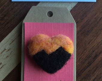 Mountain Sunrise Pin - Felted Wool Scenic Heart-Shaped Pin of Mountain Landscape