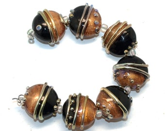 Gold and black, round lampwork beads sra, set of 7, ,handmade beads Lampwork glass beads, jewelry supplies, artisan beads, jewelry supplies