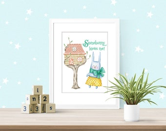 """Downloadable, """"Somebunny loves me!"""" nursery or child's room art with watercolor images Lemon Drop Images"""
