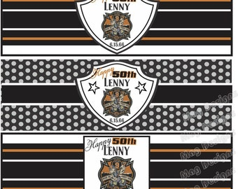 Birthday Cigar Bands - Custom Printed for you -  Cigar Labels for Wedding Party - Gold and Black - Monogram Cigar Band