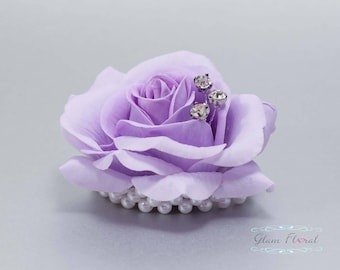 Child's Wrist Corsage. Small Lavender Rose w. rhinestones, pearls.  Flower girl bracelet. Father Daughter Dance. Tea Rose Collection