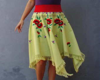 Flamenco Tassel Skirt Red Poppies Vintage Embroidery Tango Dance US size 8/10 EU size 38/40