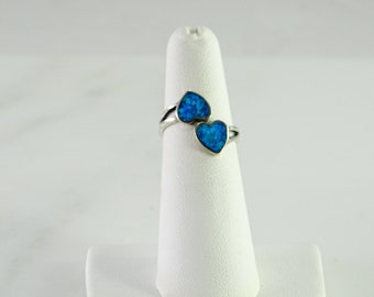Petite Inlaid Turquoise Twin Heart Sterling Ring Size 5