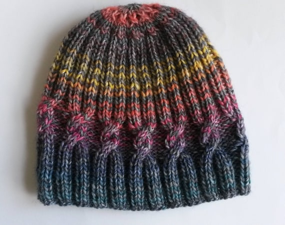 Knit beanie: Cable Spiral Aran hat; original design. Made in Ireland. Grey with colourful stripes. Wool mix yarn. Unique hat. Great gift!