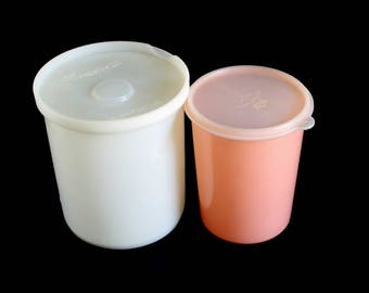 Eagle Superseal Plastic Container Peach Round Storage Canister, Republic Freezette II No. 306