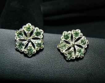 PAT.PEND. - Wonderful vintage Green rhinestone shamrock clip earrings - signed