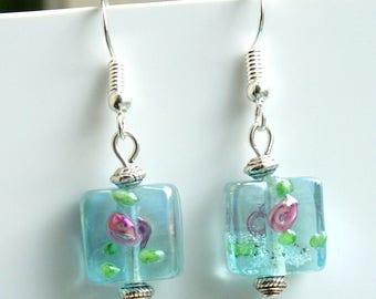 Blue Glass Flower Earrings with Sterling Silver Hooks LB82