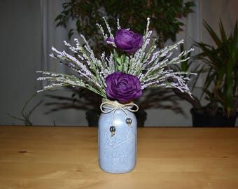 Painted Vintage Ball Mason Jar with Flowers